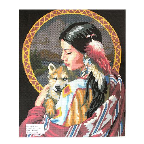 А-001 Канва с рисунком ''Индейская девушка' 33х39