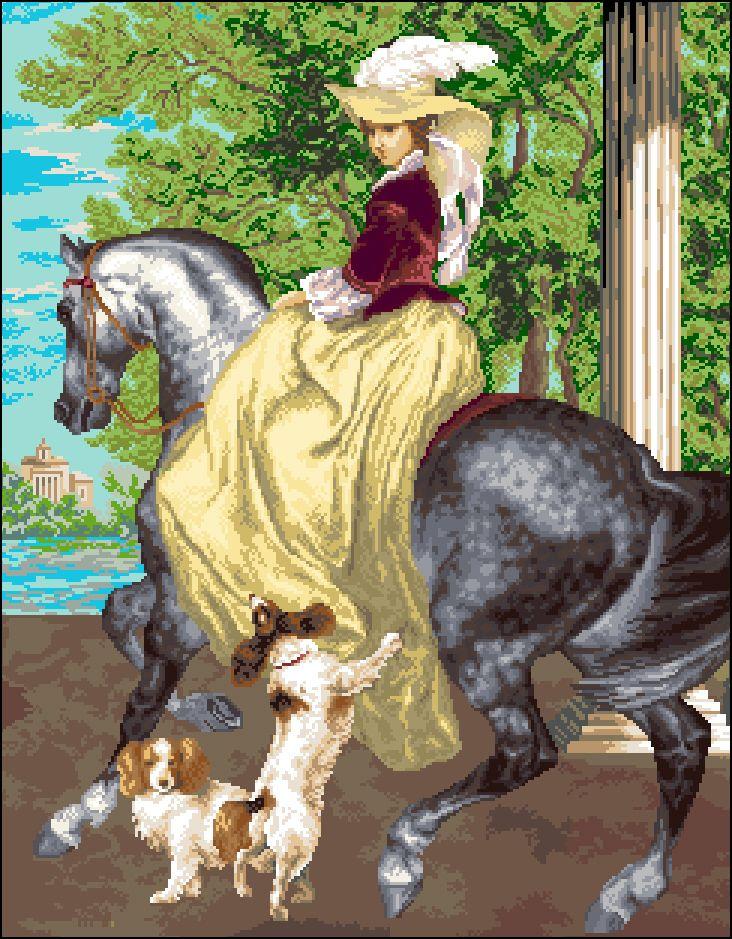 А-002 Канва с рисунком 'Гелиос' 'Дама на коне', 43х53,5 см