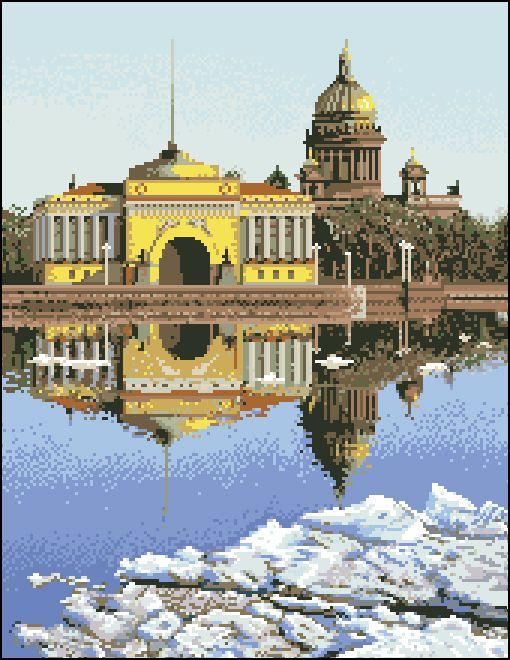 Г-001 Канва с рисунком 'Гелиос' 'Отражение Исаакиевского собора', 37,5x46 см