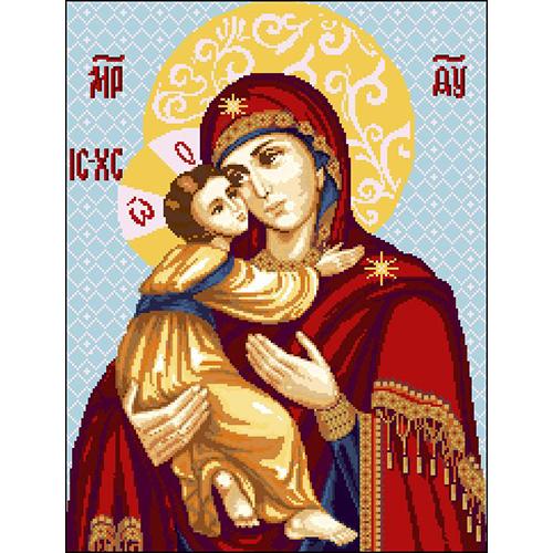 И-003 Канва с рисунком 'Гелиос' 'Владимирская икона Божьей Матери', 39х50 см