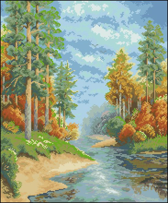 П-008 Канва с рисунком 'Гелиос' 'Осень', 39х46 см