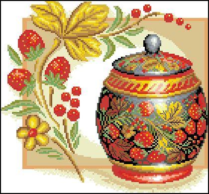 Н-006 Канва с рисунком 'Гелиос' 'Хохлома с клубничками', 30х30,5 см
