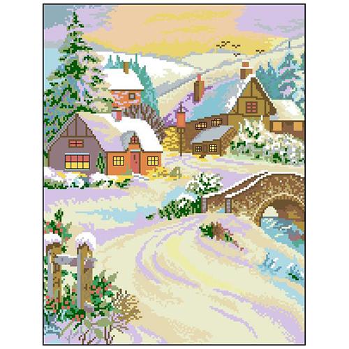 П-016 Канва с рисунком 'Зимний пейзаж' 33х43