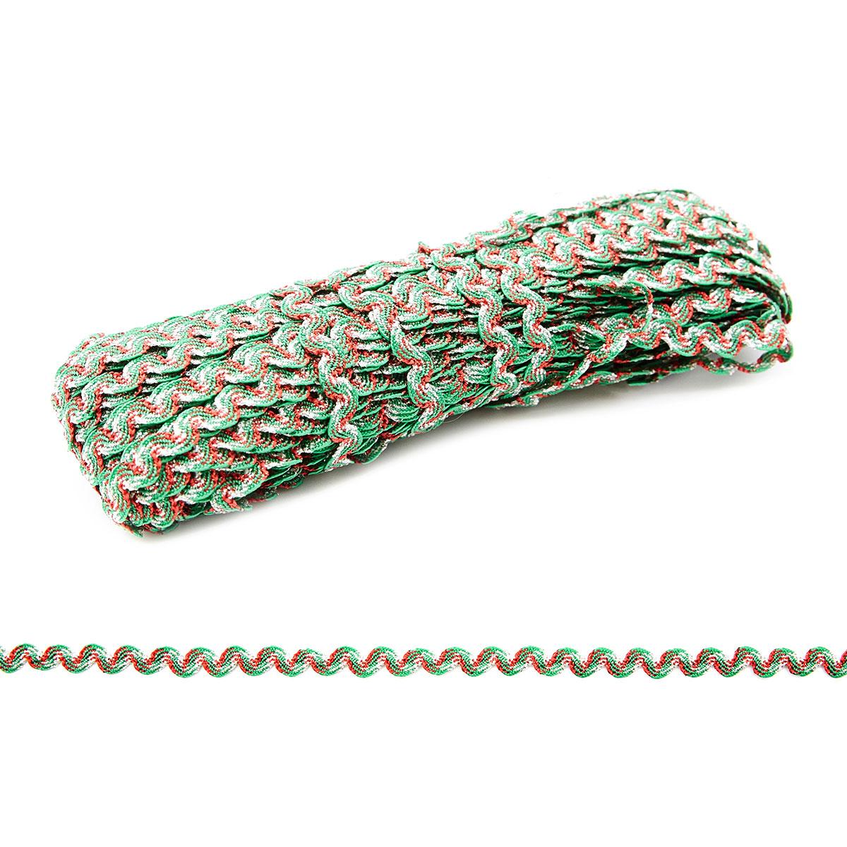 С3619 Тесьма-вьюнчик 'Радуга', 4 мм*20 м (4 красный/зеленый/серебро) фото