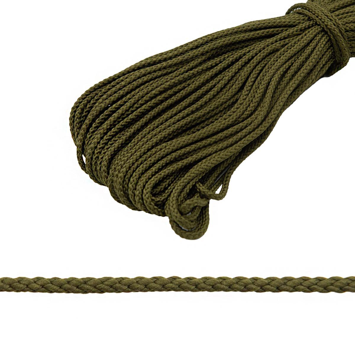 С831 Шнур отделочный плетеный, 4 мм*30 м (оливковый) фото