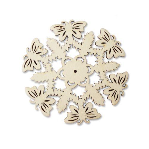Деревянная заготовка Снежинка 'Бабочка' 3мм (L-208) Астра