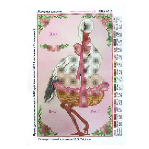 КБА-4010 Канва с рисунком для бисера 'Метрика девочка', А4