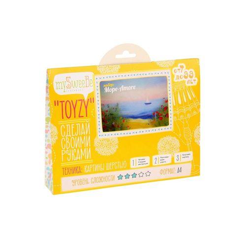 TZ-P009 Картина шерстью 'Море-Amore' 29,7х21 см (А4) Toyzy