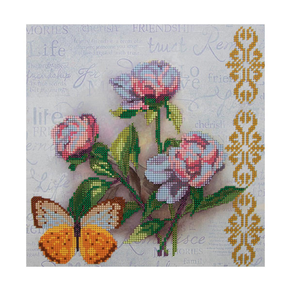 НР-3112 Канва с рисунком для вышивания бисером 'Пионы и бабочки' Hobby&Pro 25*25см