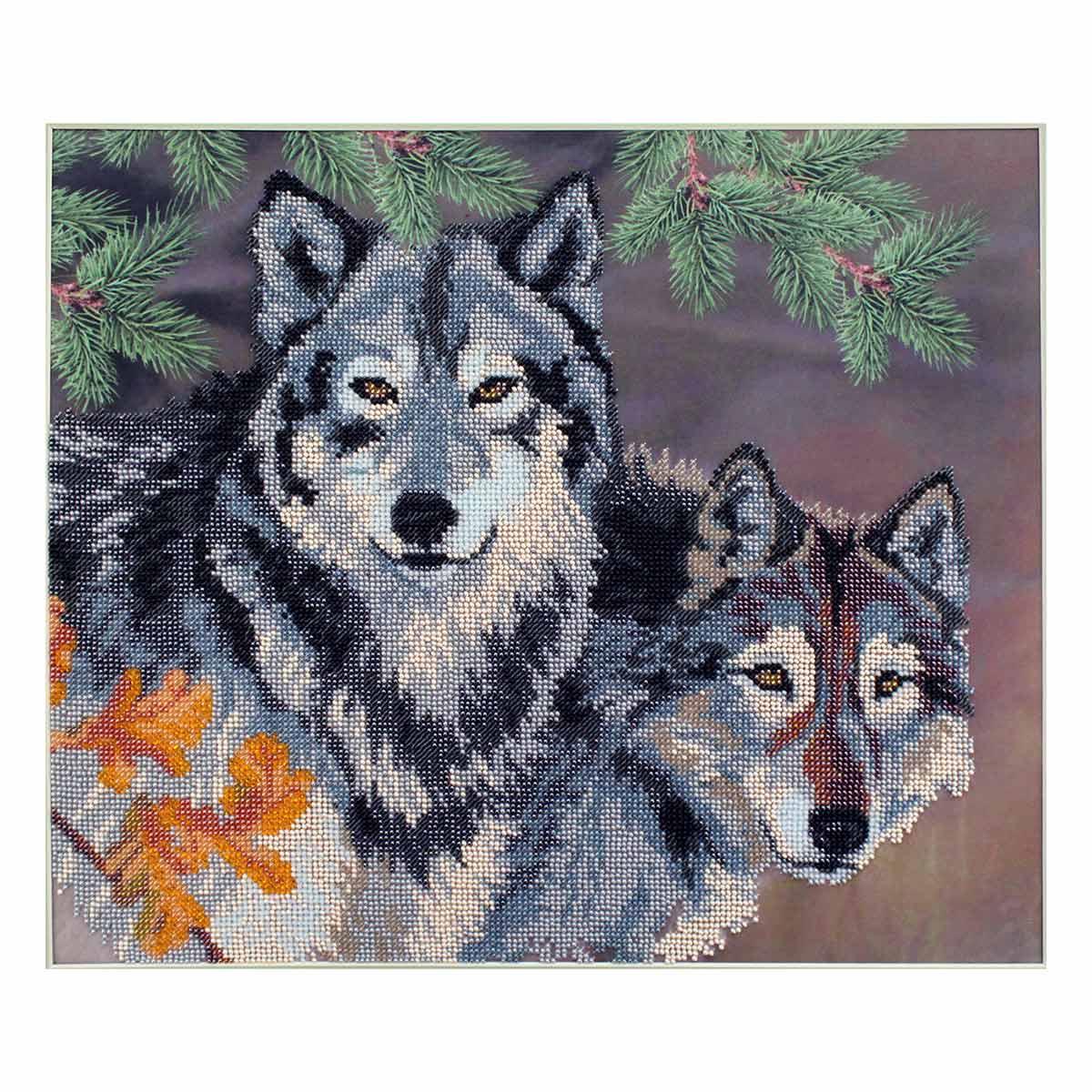 БН-3076 Набор для вышивания бисером Hobby&Pro 'Пара волков', 40*35 см