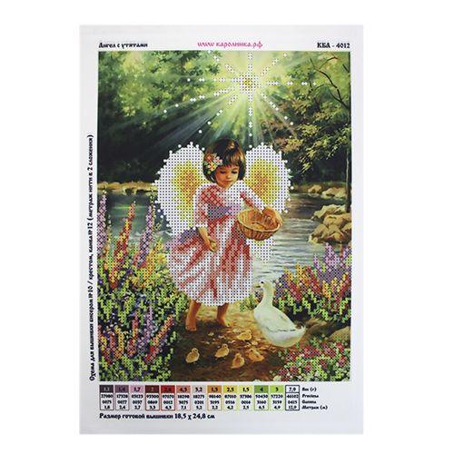 КБА-4012 Канва с рисунком для бисера 'Ангел с утятами', А4