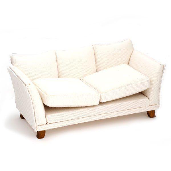 AM0102009 Диван, белая ткань, 16*7*8см