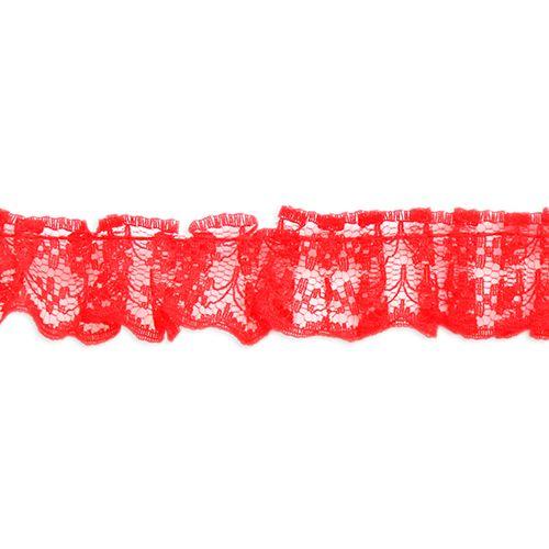 24098 Кружево 'рюшь' капрон 2,5 см, красный