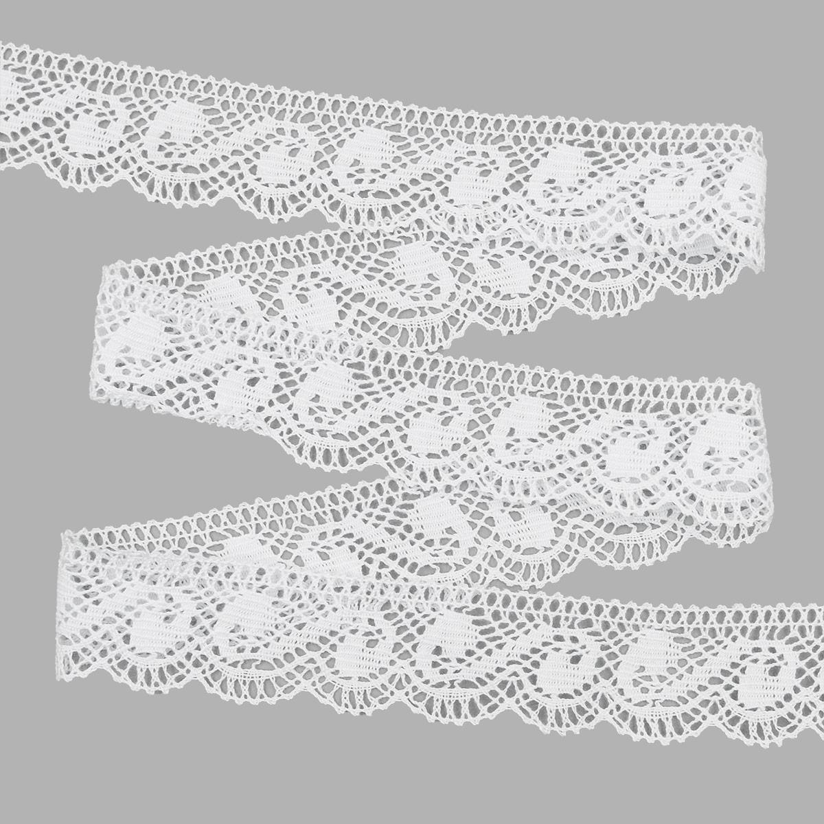 50-1443-16/01 Тесьма вяз ажур х/б 35мм*25м бел одностор. ГР