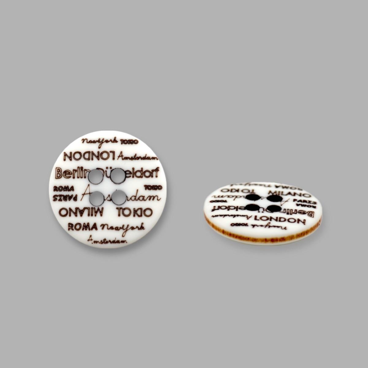 L-36/11886/4 24 (02) Пуговица 4 прокола бел./корич.мат.полиэстер 'города'