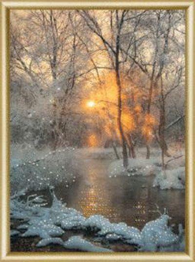 КС173 Набор для изготовления картины со стразами 'Зимний ручей'