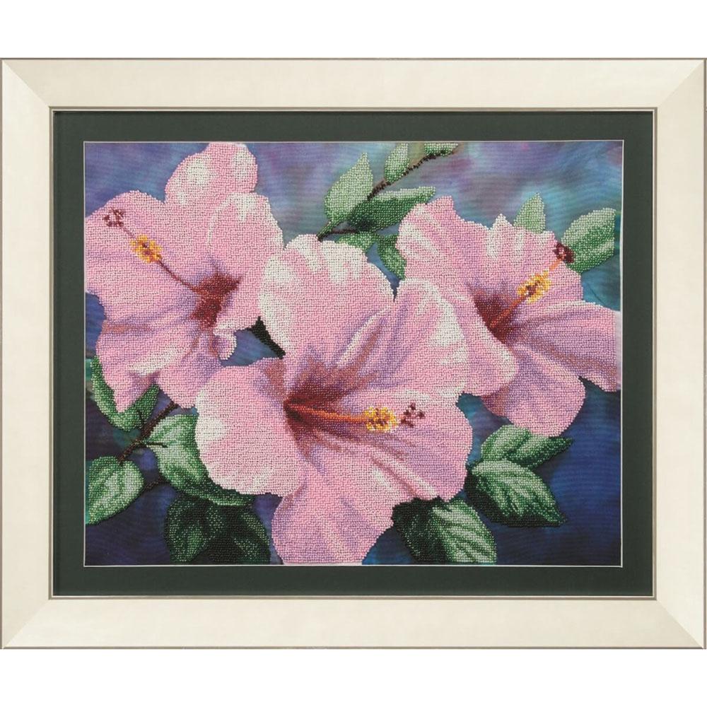 Б-722 Набор для вышивания бисером 'Чарівна Мить' 'Гибискус розовый', 43,5*34,5 см