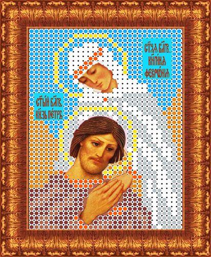 КБИ-6005 Канва с рисунком для бисера 'Св. Петр и Февронья', А6