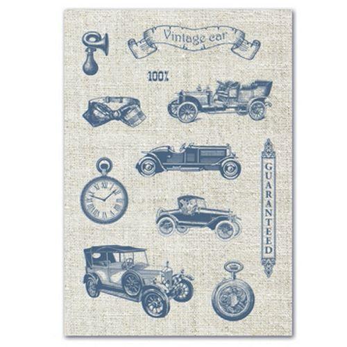 Тканевые льняные стикеры Авто Винтаж 1, 14*20см SCB530110