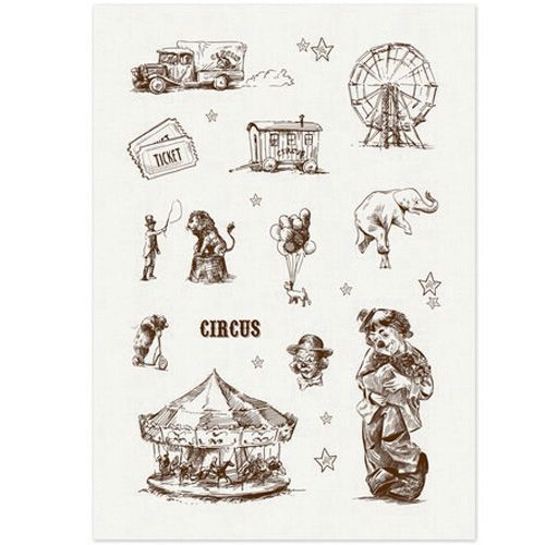 SCB530112 Тканевые льняные стикеры 'Старый цирк', 14*20 см, ScrapBerry's