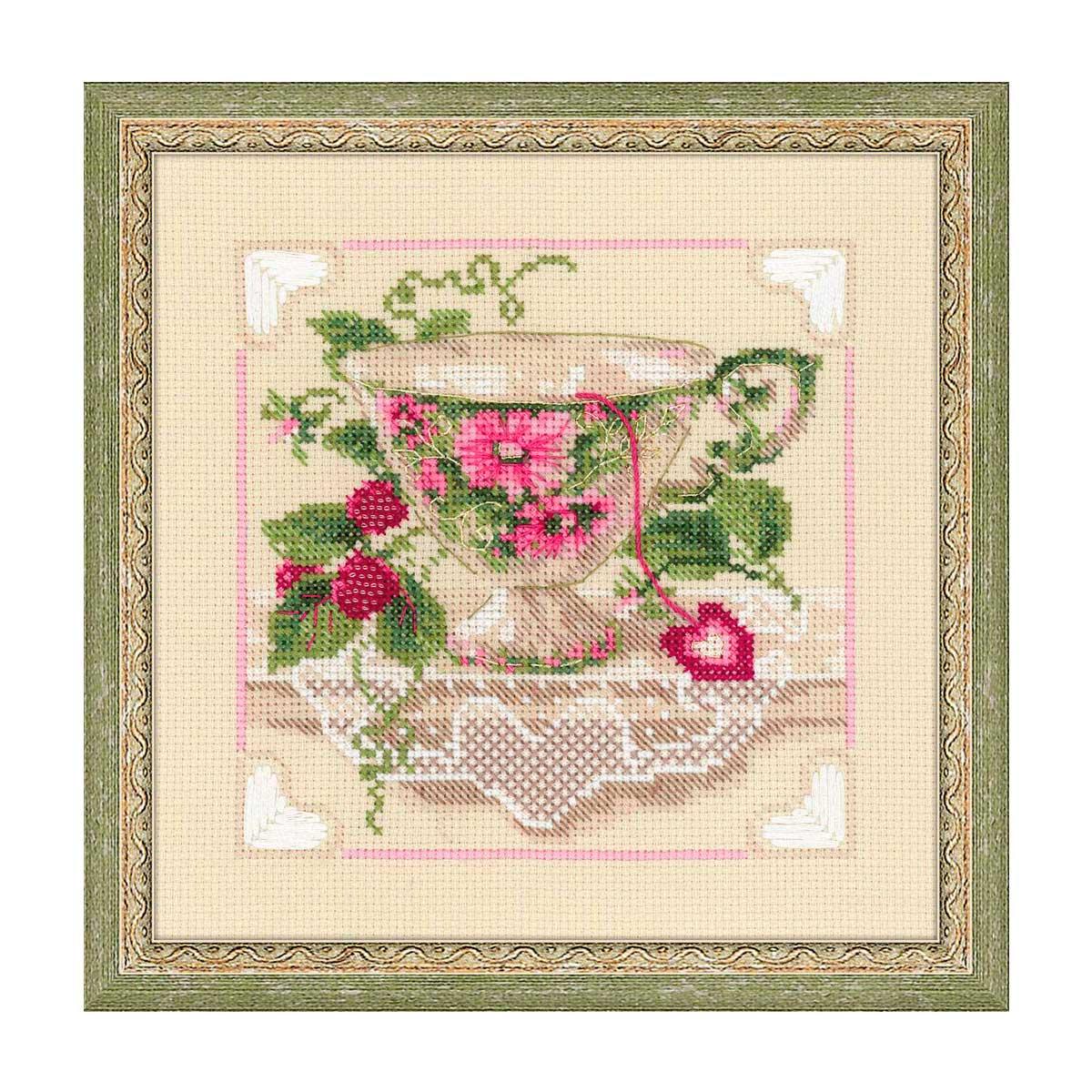1476 Набор для вышивания Riolis 'Малиновый чай', 20*20 см