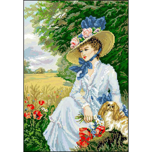 А-016 Канва с рисунком 'Гелиос' 'Дама с собачкой 2', 30х42 см