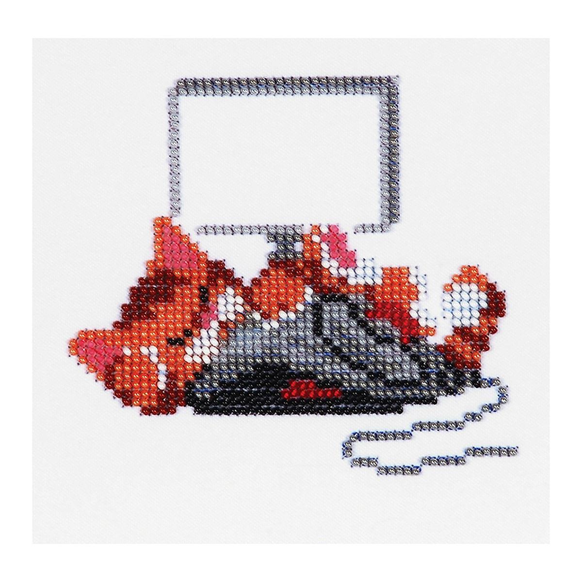 Б-0067 Набор для вышивания бисером 'Бисеринка' 'Кот с мышкой', 12*11 см
