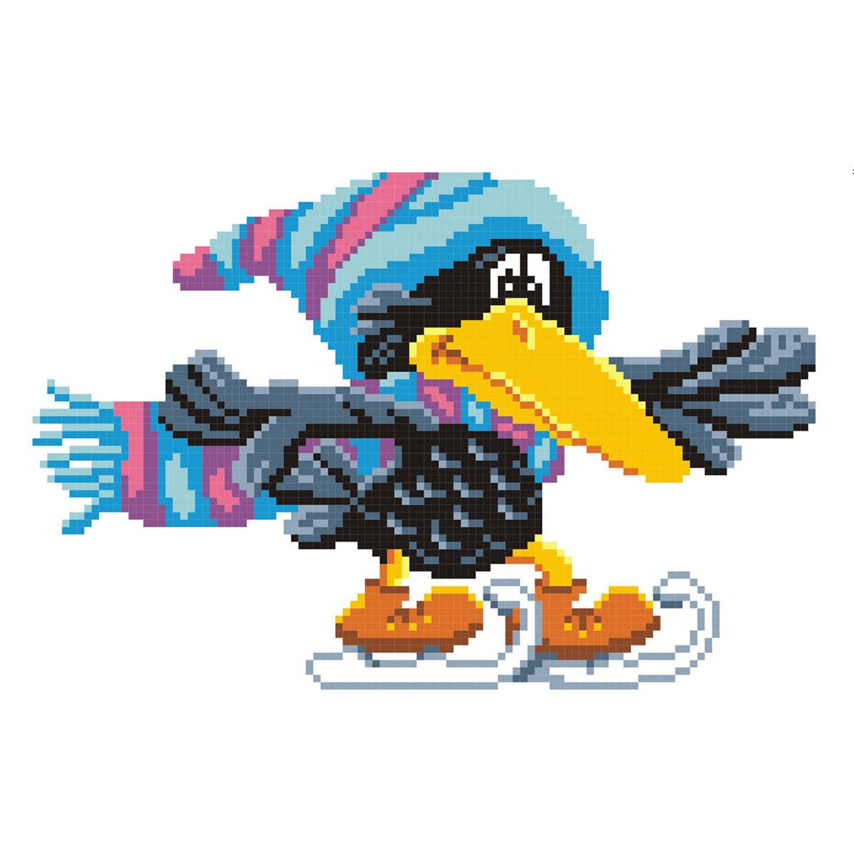 КН-388 Набор для вышивания, 'МП Студия' 'Ворона на коньках', 16х21 см
