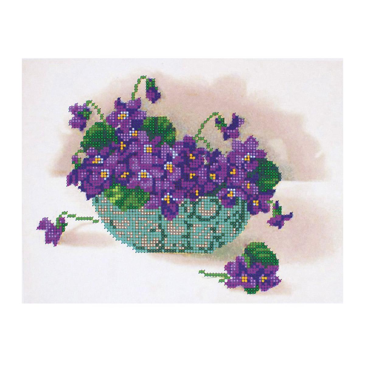 НР-3035 Канва с рисунком для вышивания бисером 'Фиалки' Hobby&Pro 25*22см