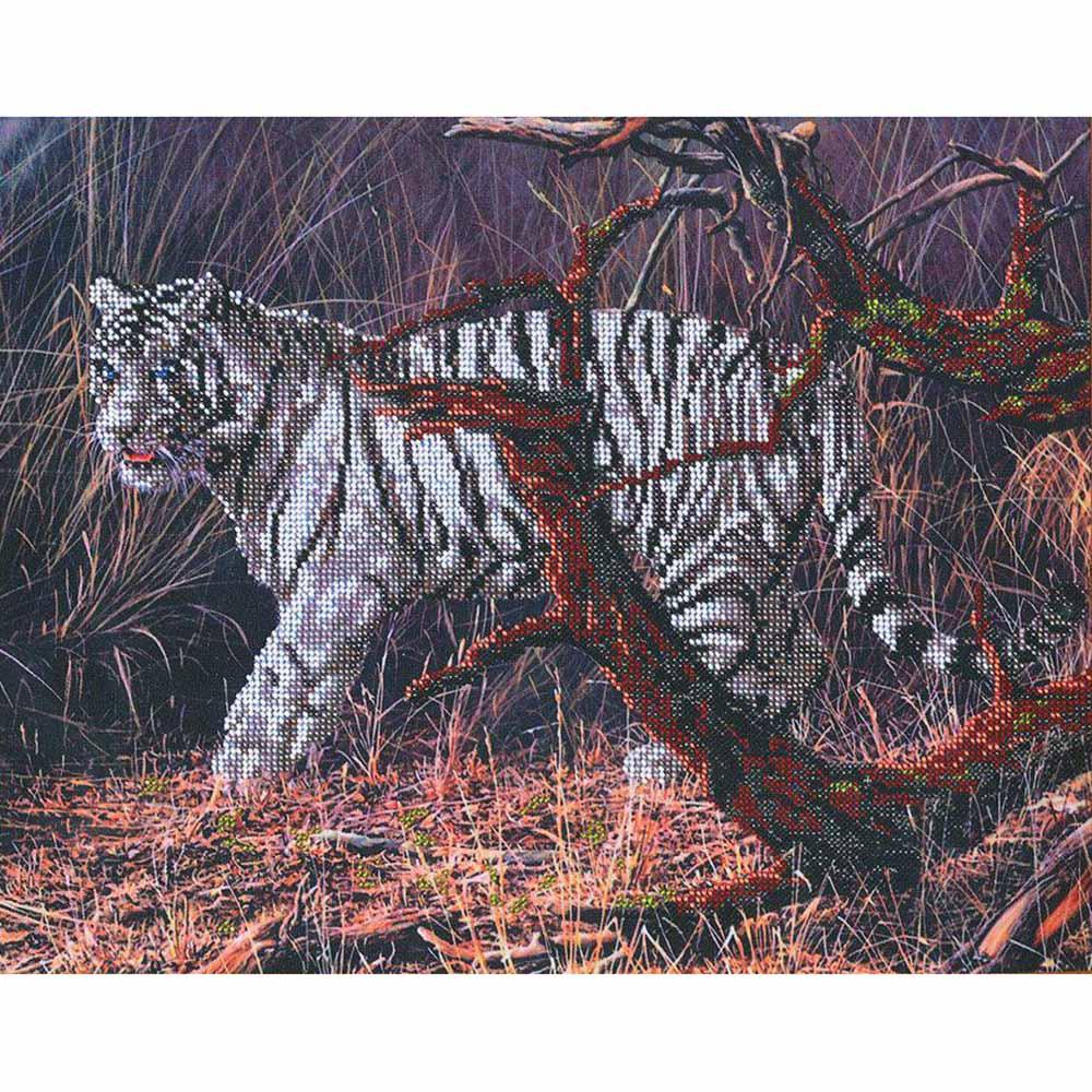 БН-3033 Набор для вышивания бисером Hobby&Pro 'Белый тигр', 40*31 см
