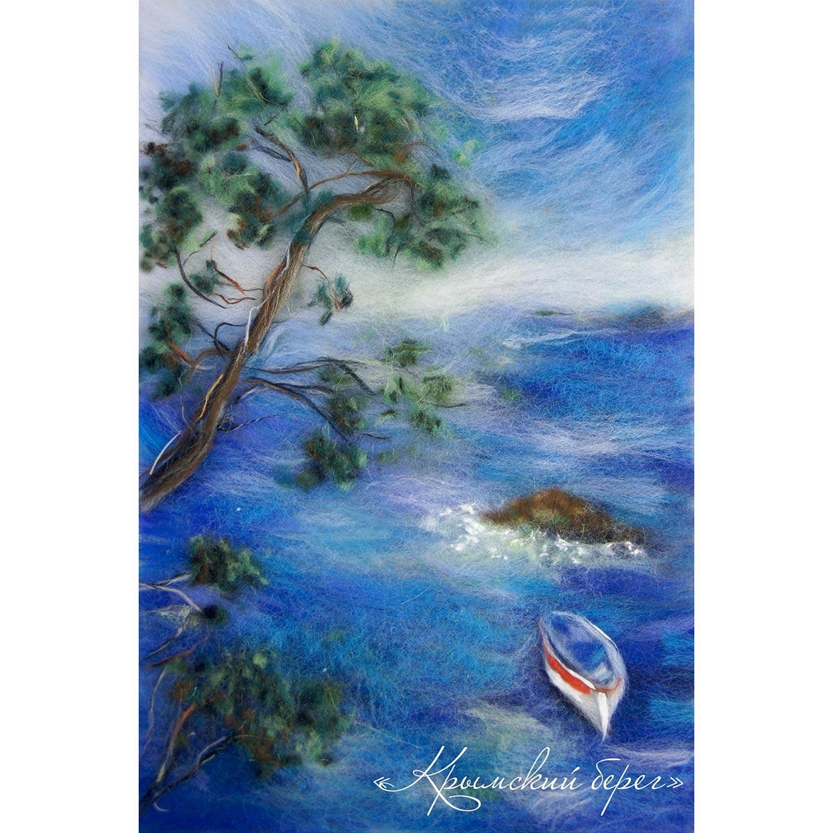 Набор для валяния (живопись цветной шерстью) 'Крымский берег' 21x29,7см (А4)