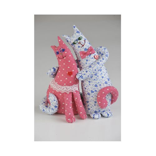 ПЛ402 Набор для изготовления текстильной игрушки 'Влюблённые Коты'', 26 см, 'Перловка'
