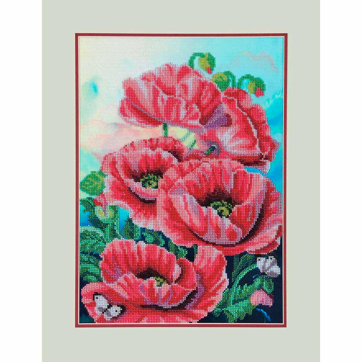 БН-3104 Набор для вышивания бисером Hobby&Pro 'Розовые маки', 27*39 см