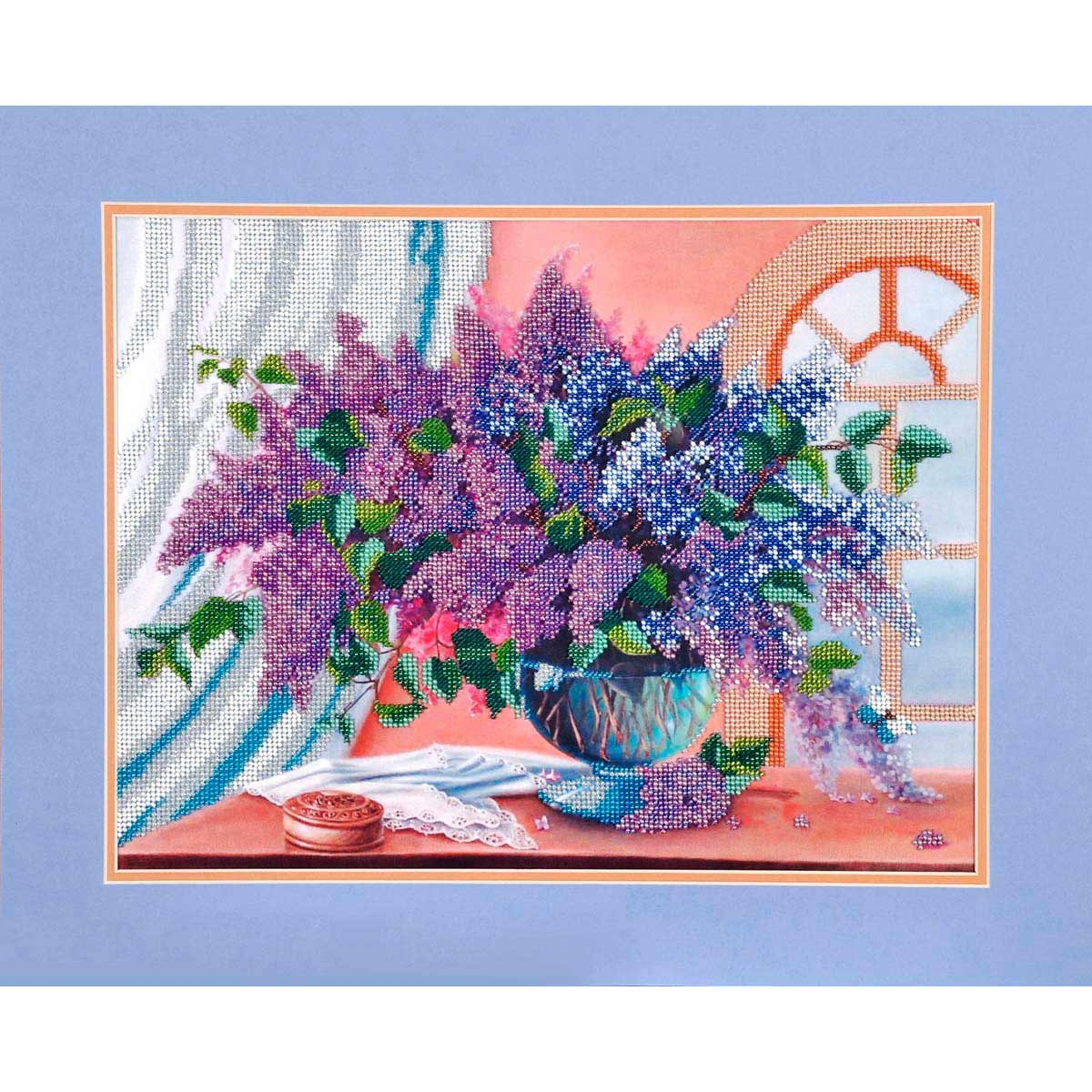 БН-3096 Набор для вышивания бисером Hobby&Pro 'Сирень в натюрморте', 39*30 см