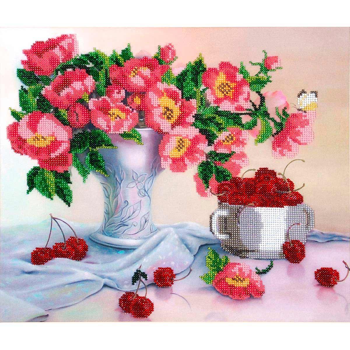 БН-3095 Набор для вышивания бисером Hobby&Pro 'Цветы с черешней', 36*30 см