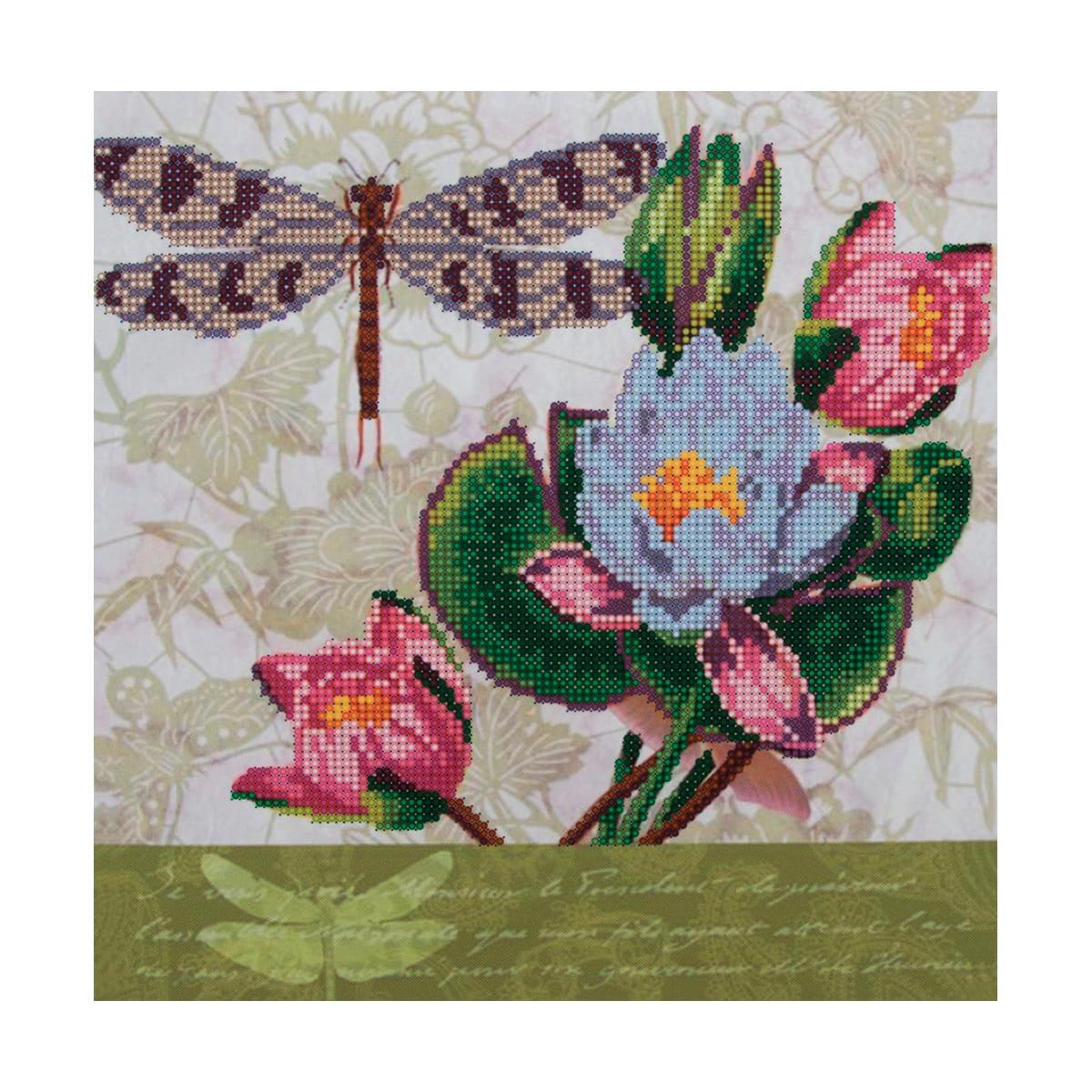 НР-3109 Канва с рисунком для вышивания бисером 'Кувшинки и стрекоза' Hobby&Pro 42*48см