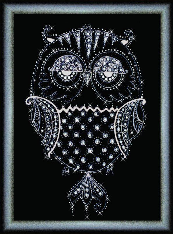 КС1077 Набор для изготовления картины со стразами 'Ночная птица'