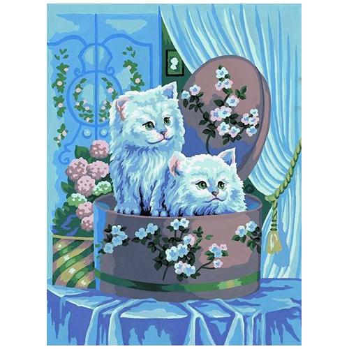 10389-CDA Канва с рисунком Collection D`Art 'Белые котята' 40*50 см