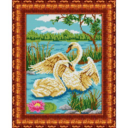 КБЖ-4016 Канва с рисунком для бисера 'Пара лебедей', А4