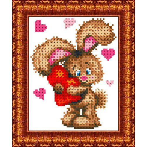КБЖ-5012 Канва с рисунком для бисера 'Влюбленный зайчонок', А5