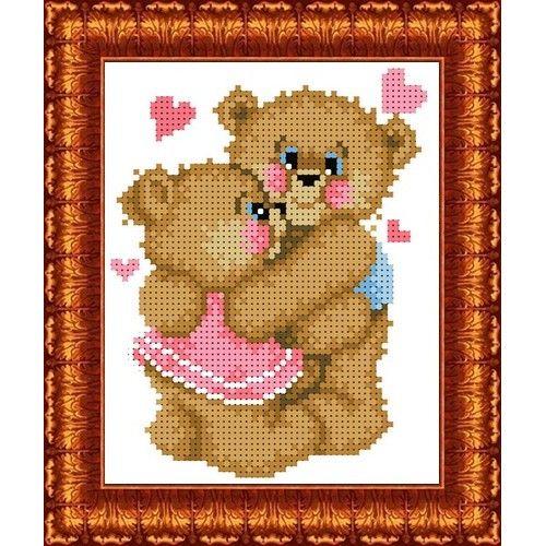 КБЖ-5014 Канва с рисунком для бисера 'Влюбленные медвежата', А5
