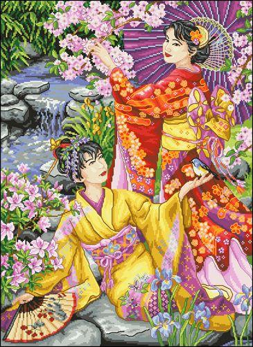 А-015 Канва с рисунком 'Гелиос' 'Японки в саду', 43,5х58 см