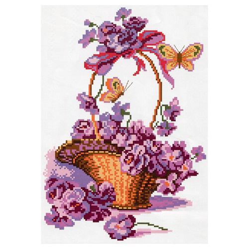 399 Канва с рисунком 'Матренин посад' 'Корзинка с цветами', 28*37 см
