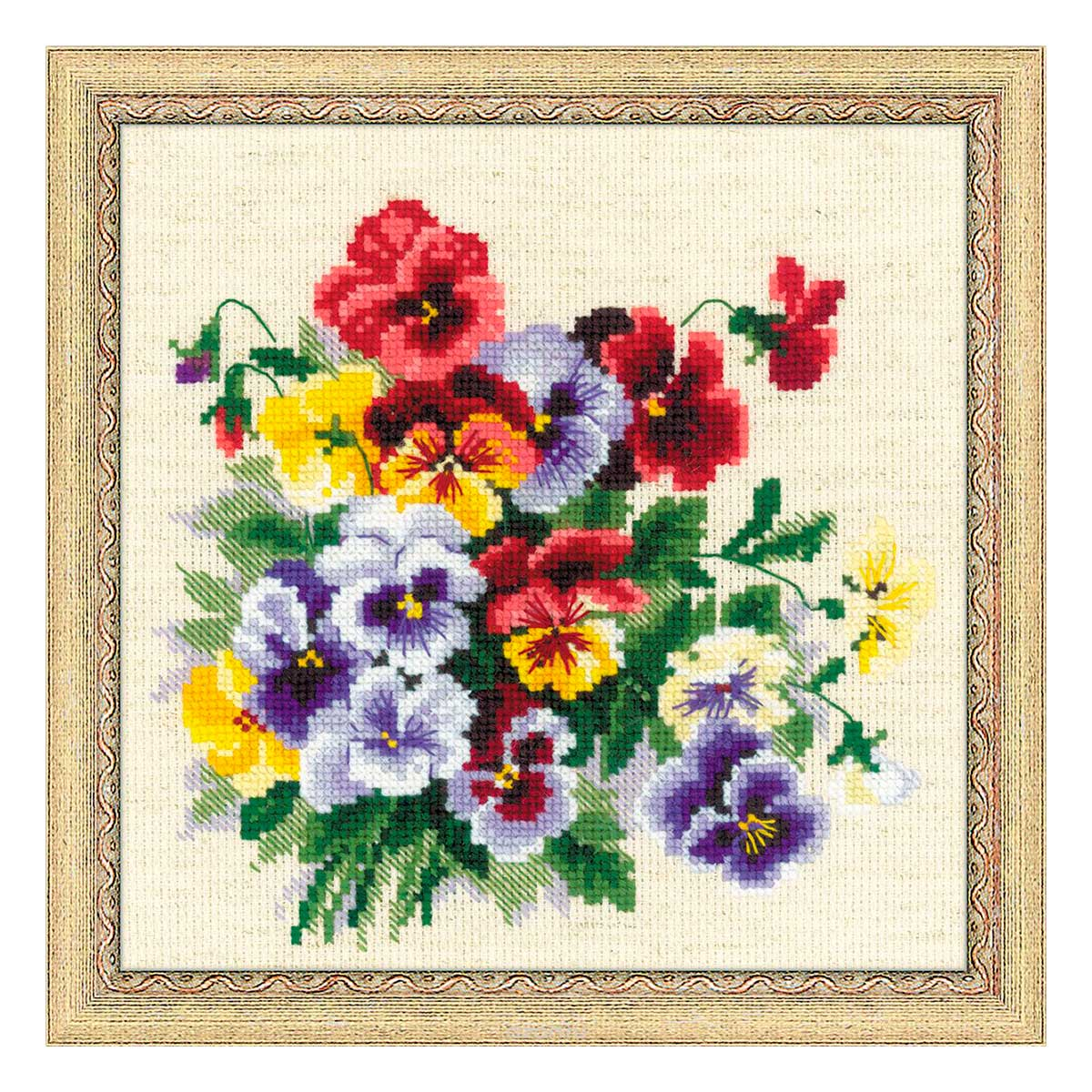 1516 Набор для вышивания Riolis 'Пестрые анютки', 20*20 см