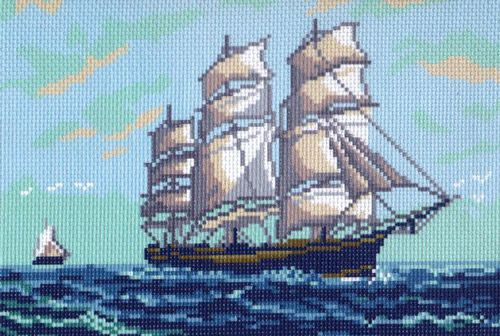 051 Канва с рисунком 'Матренин посад' 'Парусник', 28*34 см