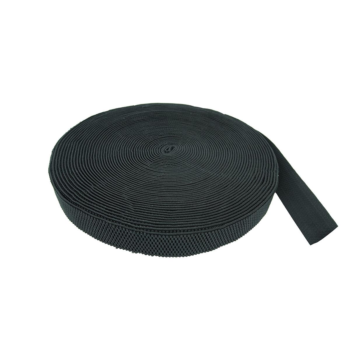3140 Тесьма эластичная для подтяжек 40мм*25м, черная