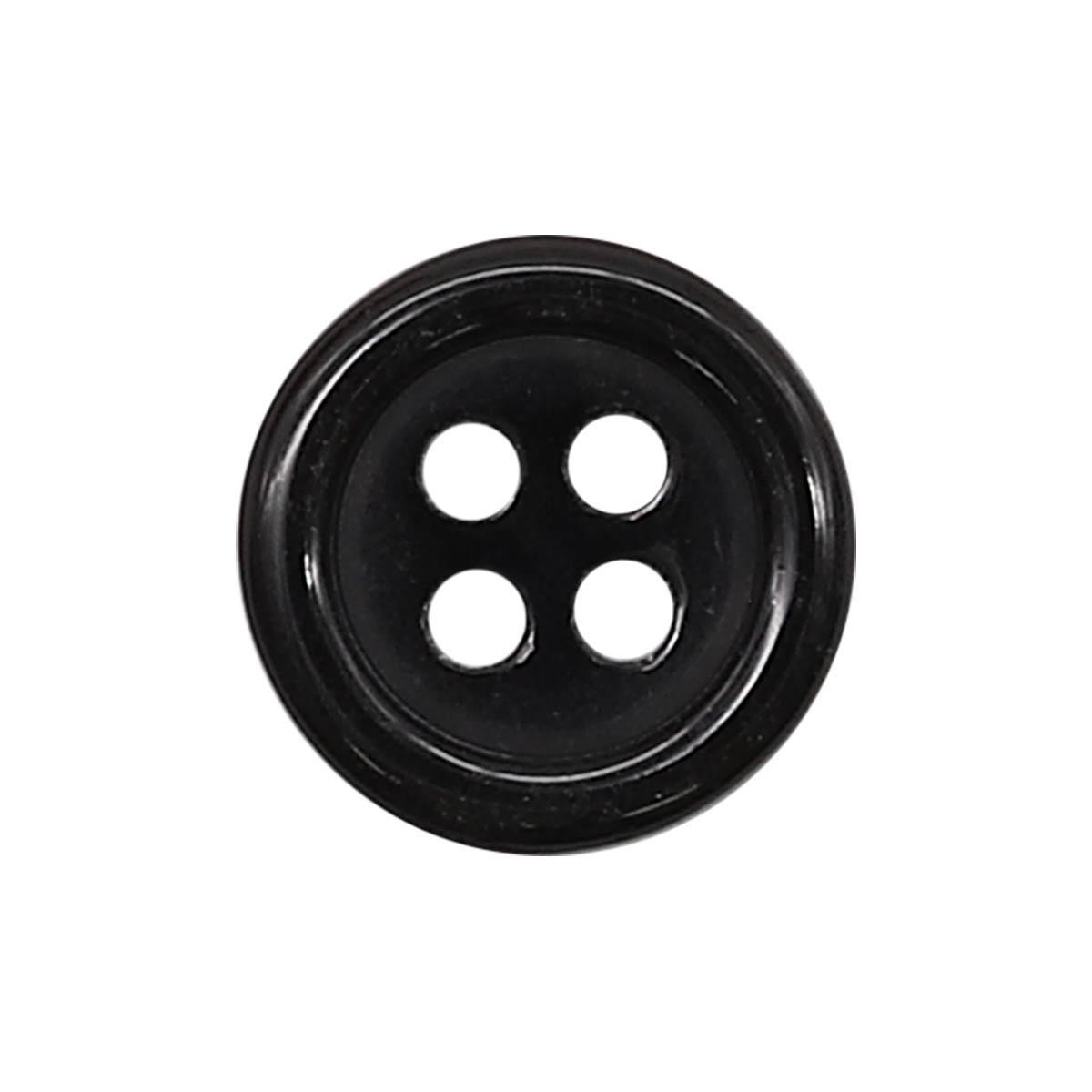 35483/4 18 (3500-53) Пуговица 4 прокола черн.глянц.полиэстер ГР