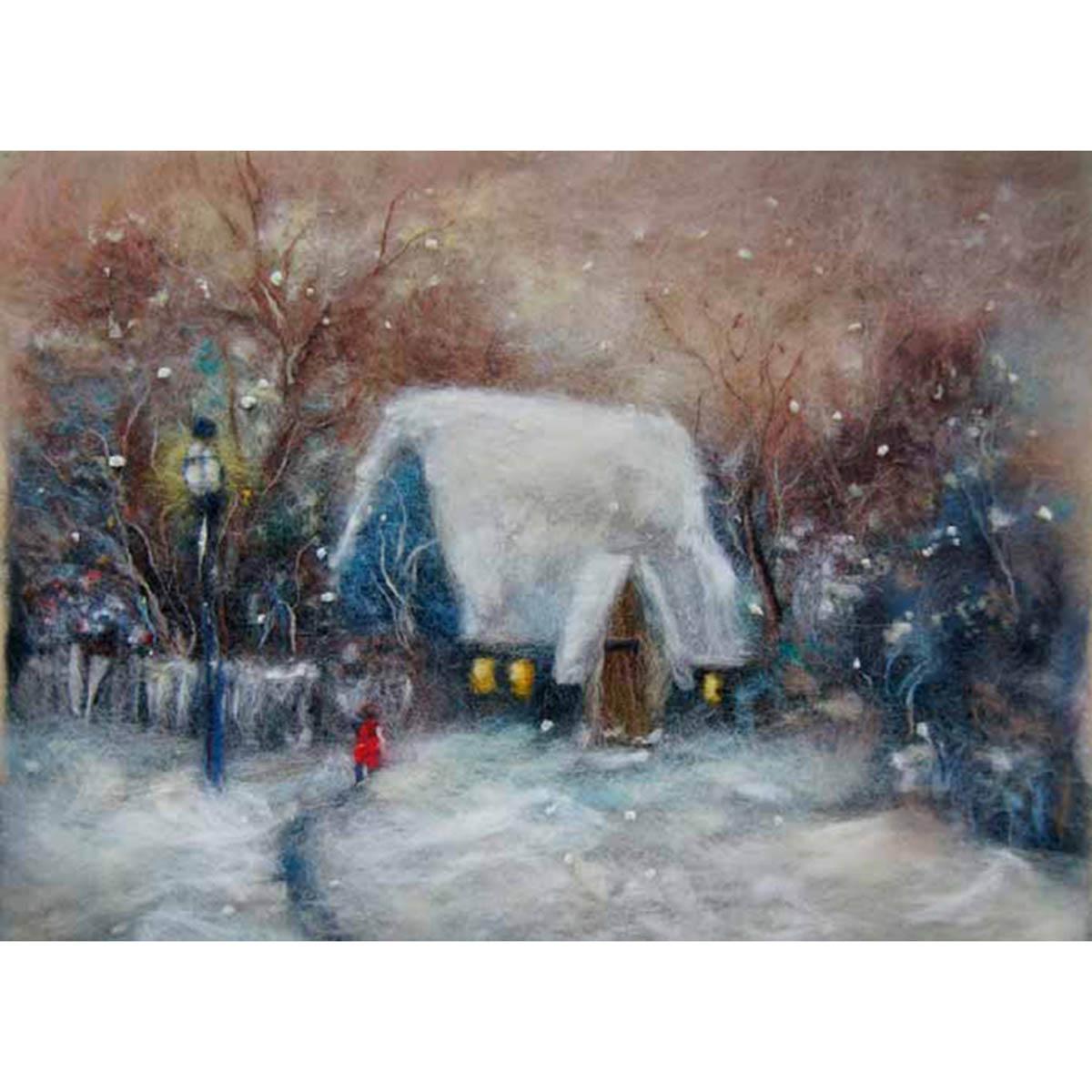 Набор для валяния (живопись цветной шерстью) 'Зима' 21x29,7см (А4)