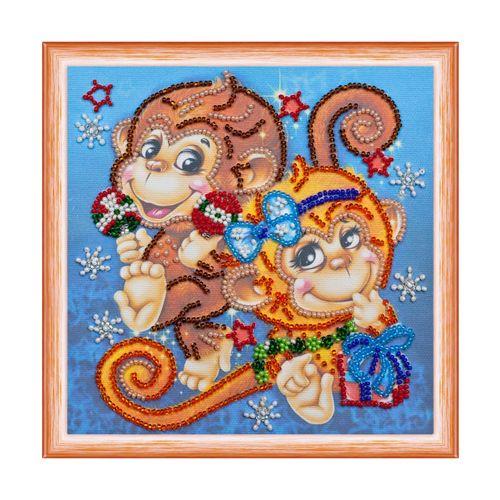 AM-114 Набор для вышивания бисером 'Абрис Арт' 'Веселые обезьянки', 15*15 см