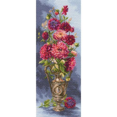 1705 Канва с рисунком 'Матренин Посад' 'Мечтательные георгины', 40*90 см